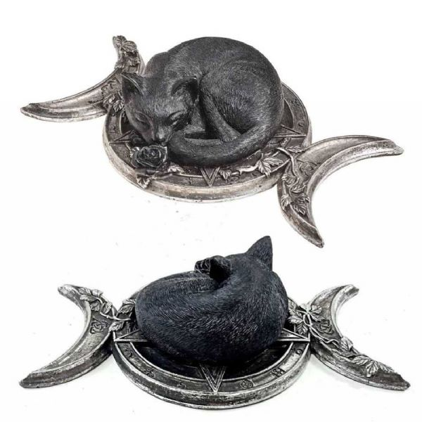 ALCHEMY GOTHIC  Witches Familiar Cat & Triple Moon Ornament